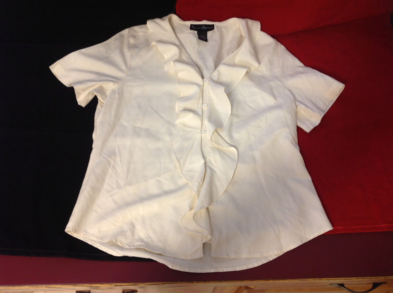 Mercer and Madison Brand Womens Silk Button Down Ruffled Blouse Top M Medium