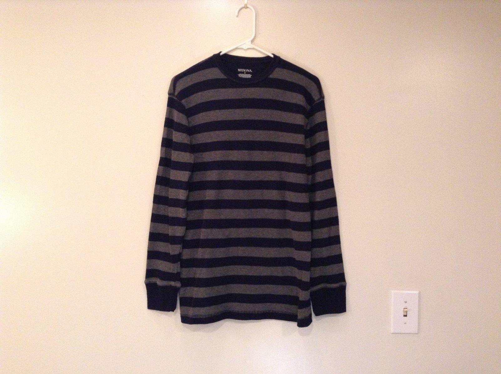Merona Long Sleeve Navy Blue Gray Stripes Top Size Small