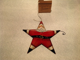 Metal Santa Star Shaped Ornament Tree or Wall Ornament Vintage Look