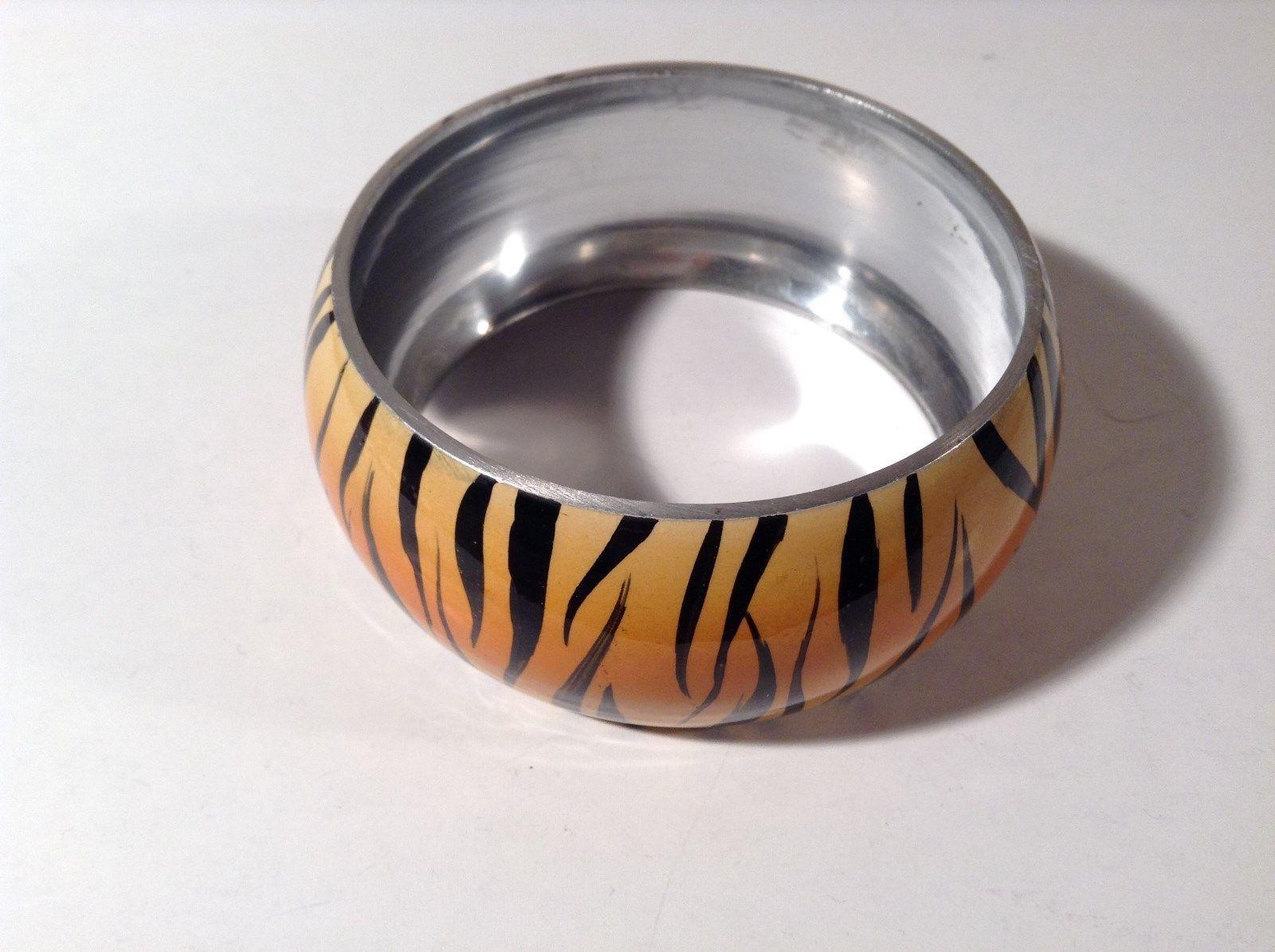 Metal Tiger Orange and Black Print Wide Band Bracelet