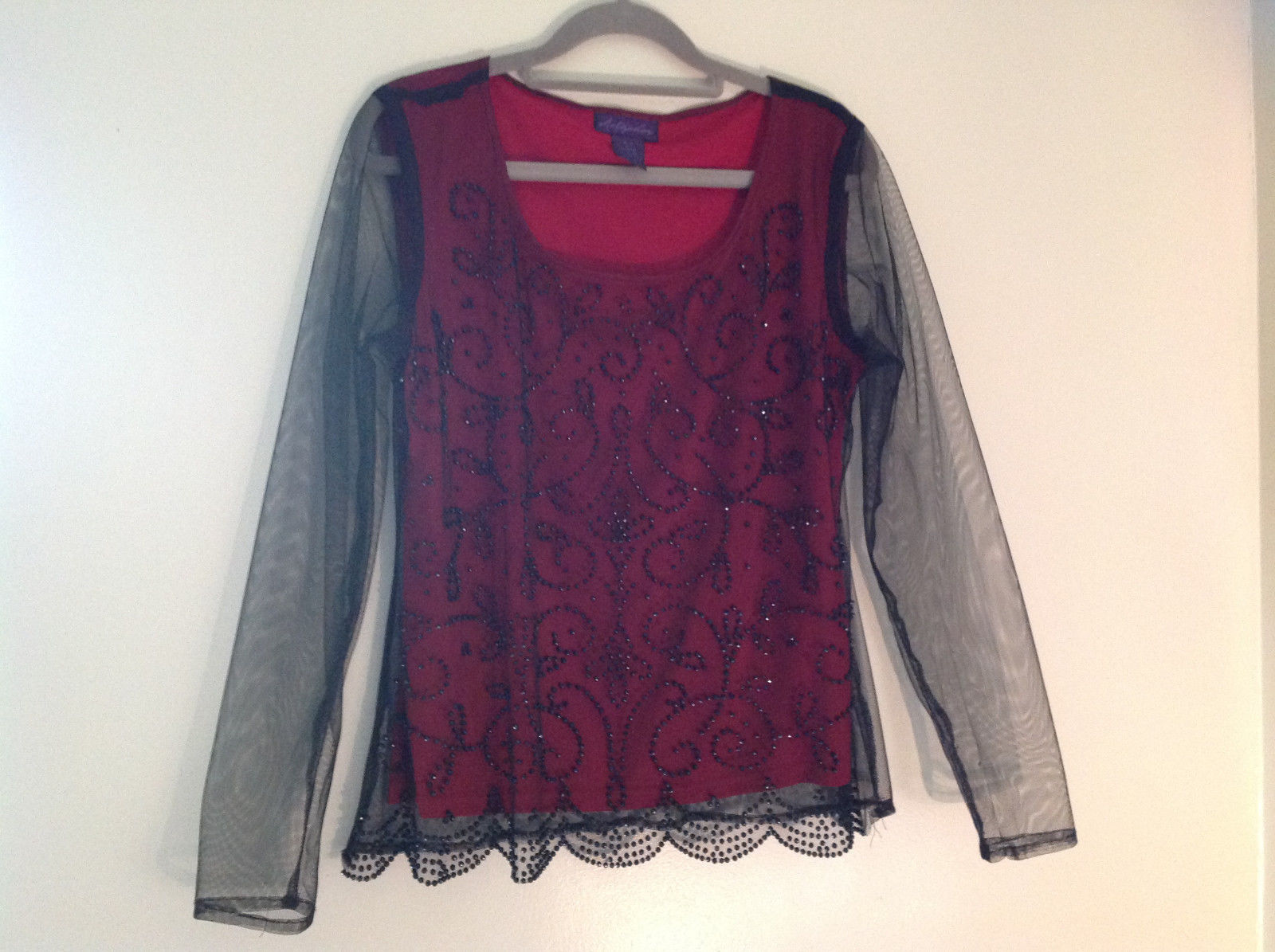 Metaphor Black Mesh Red Background Swirly Beaded Long Sleeve Shirt Size Medium