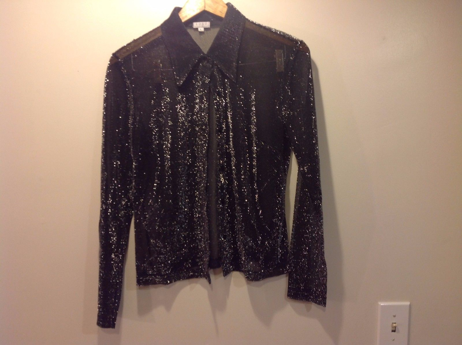 Metallic See Through Black Long Sleeve Shirt XOXO Size L