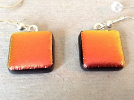 Metallic Orange Red Black Square Shaped Glass Dangling Earrings