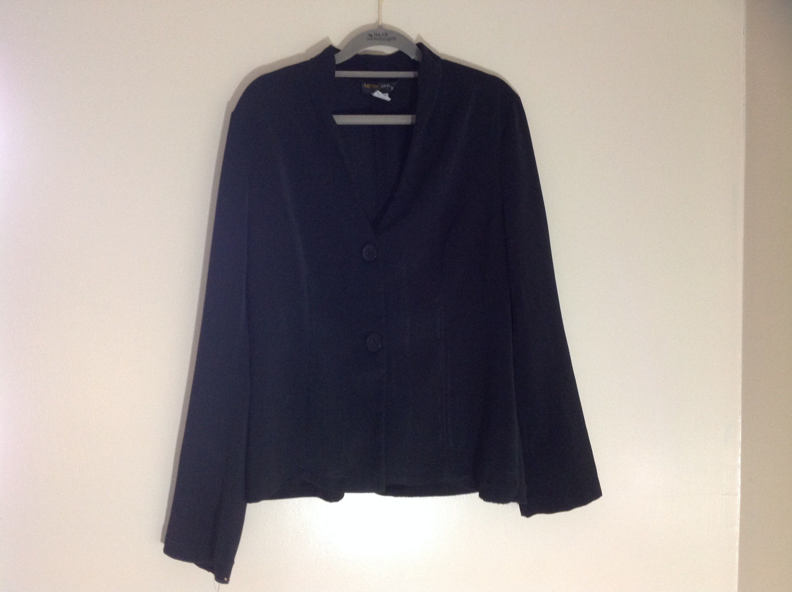 Metro Style Black Button Up Long Sleeve Collared Blazer Size 12
