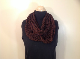 Metallic Pleated Infinity Scarf Brown Metallic Thread 100 Percent Polyester