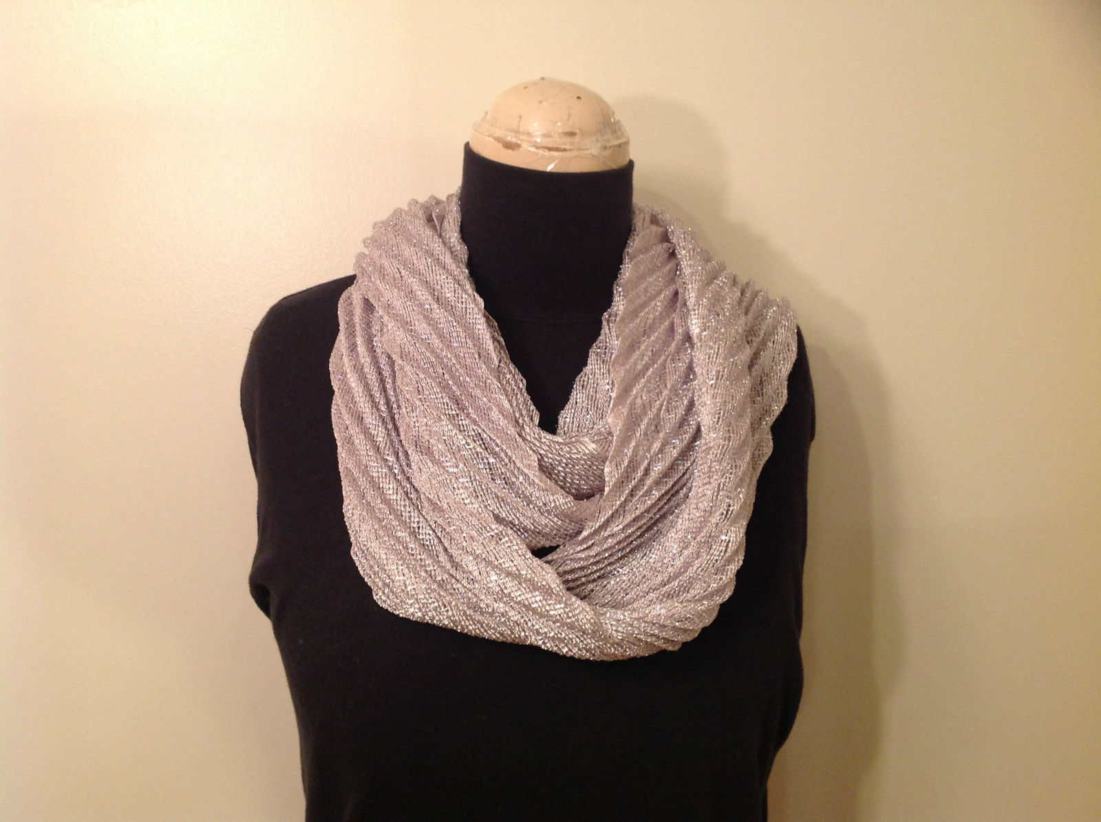 Metallic Pleated Infinity Scarf Light Gray Metallic Thread 100 Percent Polyester