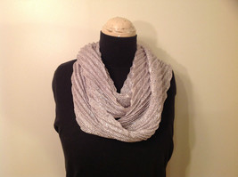 Metallic Pleated Infinity Scarf Light Gray Metallic Thread 100 Percent Polyester image 1
