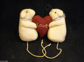 Mice Photo Holder with fabric heart for Valentine's Day or love occasion