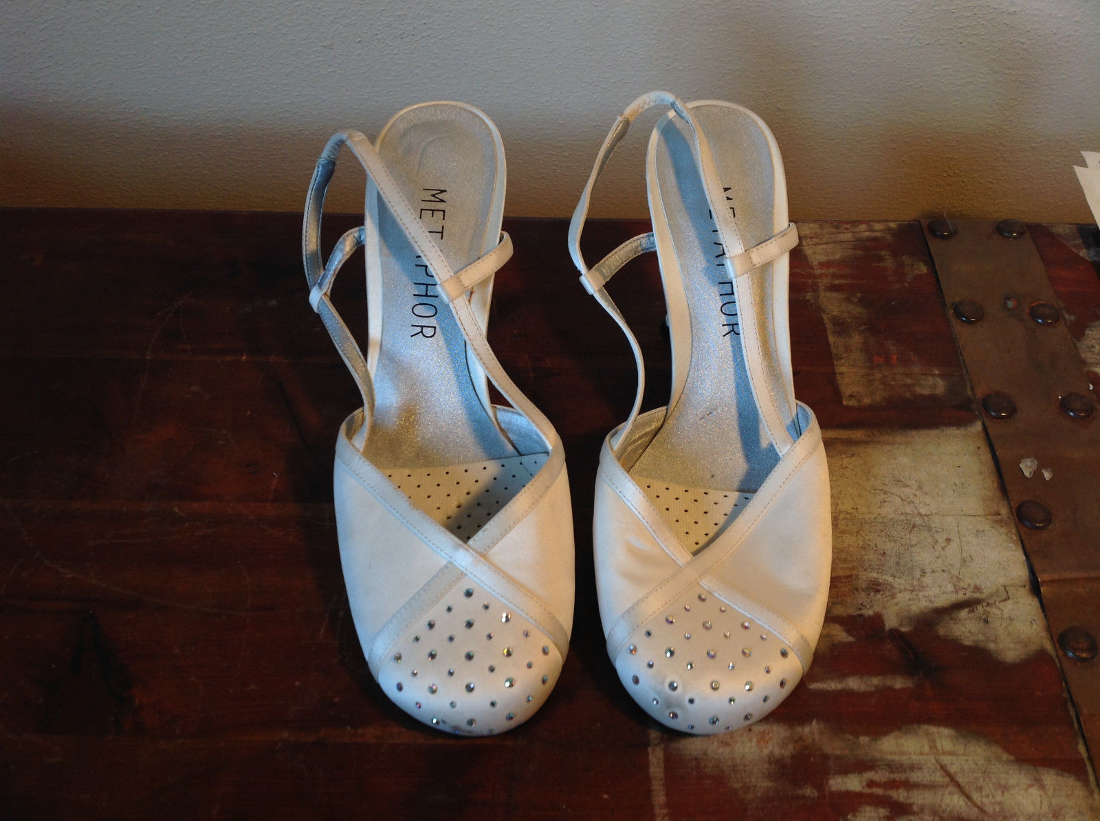 Metaphor High Heel Shoes White Rhinestones Beige Straps Size 7.5M See Pictures