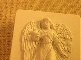 Angel trinket box  with gliding angel wings outspread and flowing gown and bird image 2