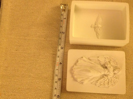 Angel trinket box  with gliding angel wings outspread and flowing gown and bird image 3