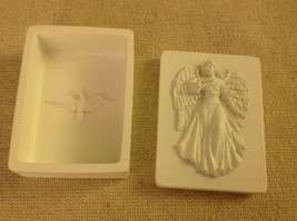 Angel trinket box  with gliding angel wings outspread and flowing gown and bird image 5