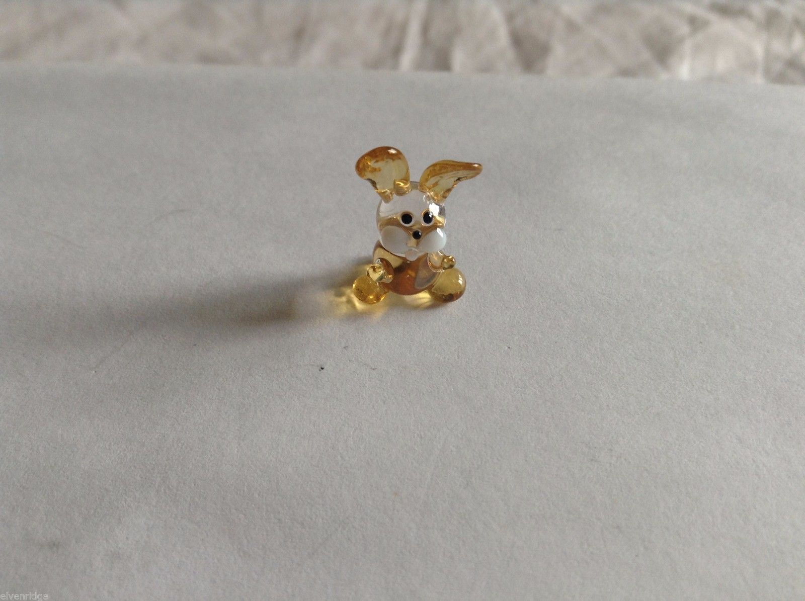Micro Miniature hand blown glass made USA NIB clear and tan bunny