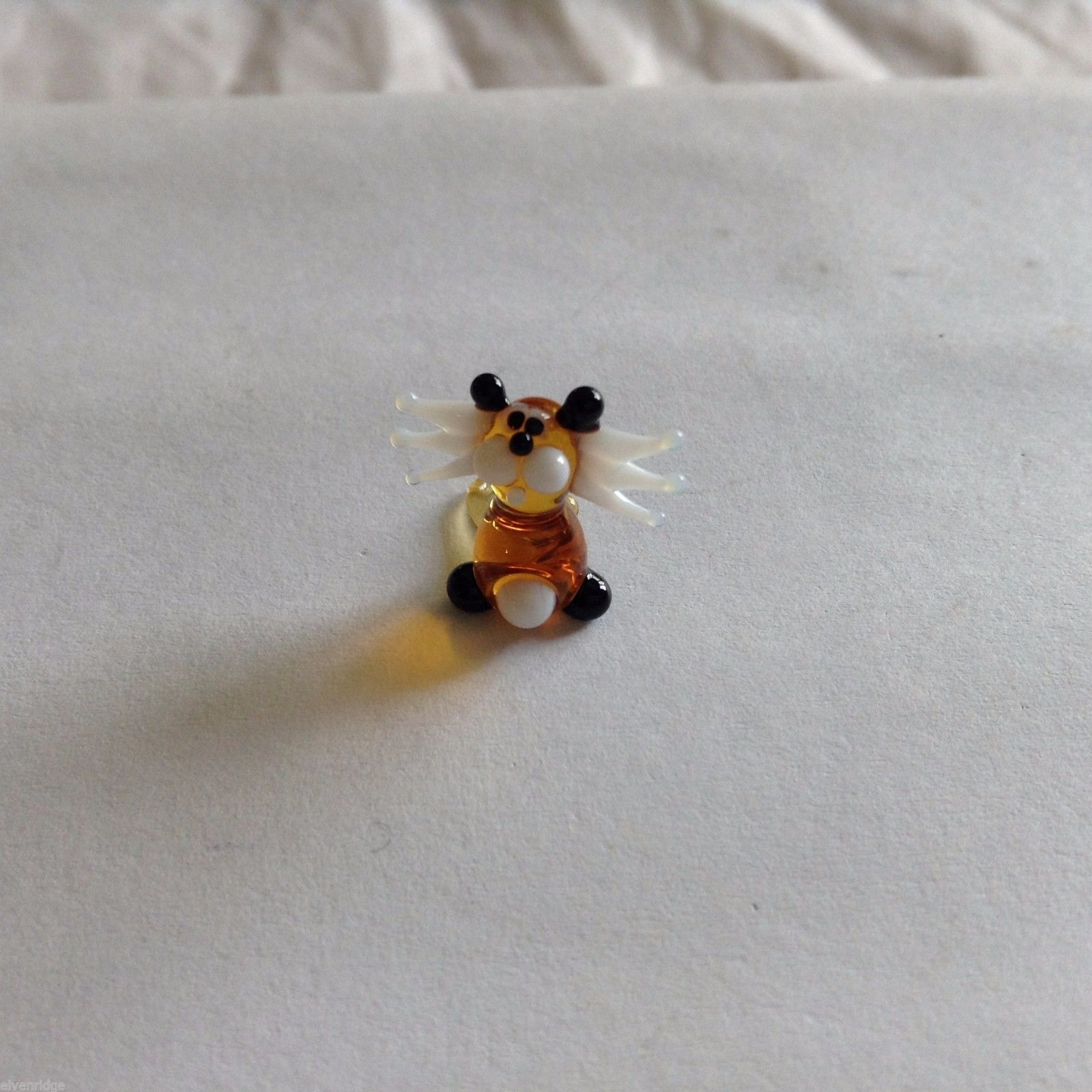 Micro Miniature small hand blown glass brown/black cat w angel white wings