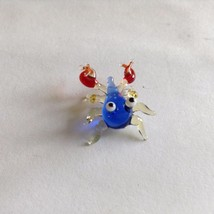 Micro Miniature small hand blown glass clear blue and red crab made USA NIB