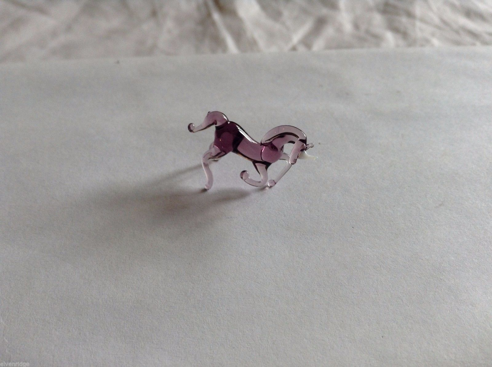 Micro Miniature hand blown glass made USA NIB purple  Horse kneeling or rearing