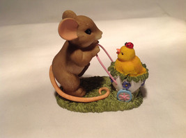 Mouse Pushing Cart Charming Tails Figurine Taking a Stroll with My Cute Chick image 5