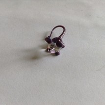 Micro Miniature small hand blown glass clear & purple mouse  made USA NIB