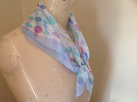 Periwinkle Teal Fuchsia Oval Dot Square Scarf Light Weight Material Silk Blend