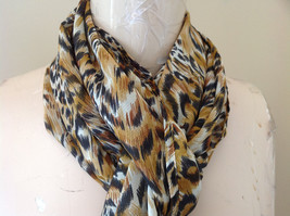 Pheasant Feather Browns and Black Fashion Scarf by Magic Scarf 58 Inches Long