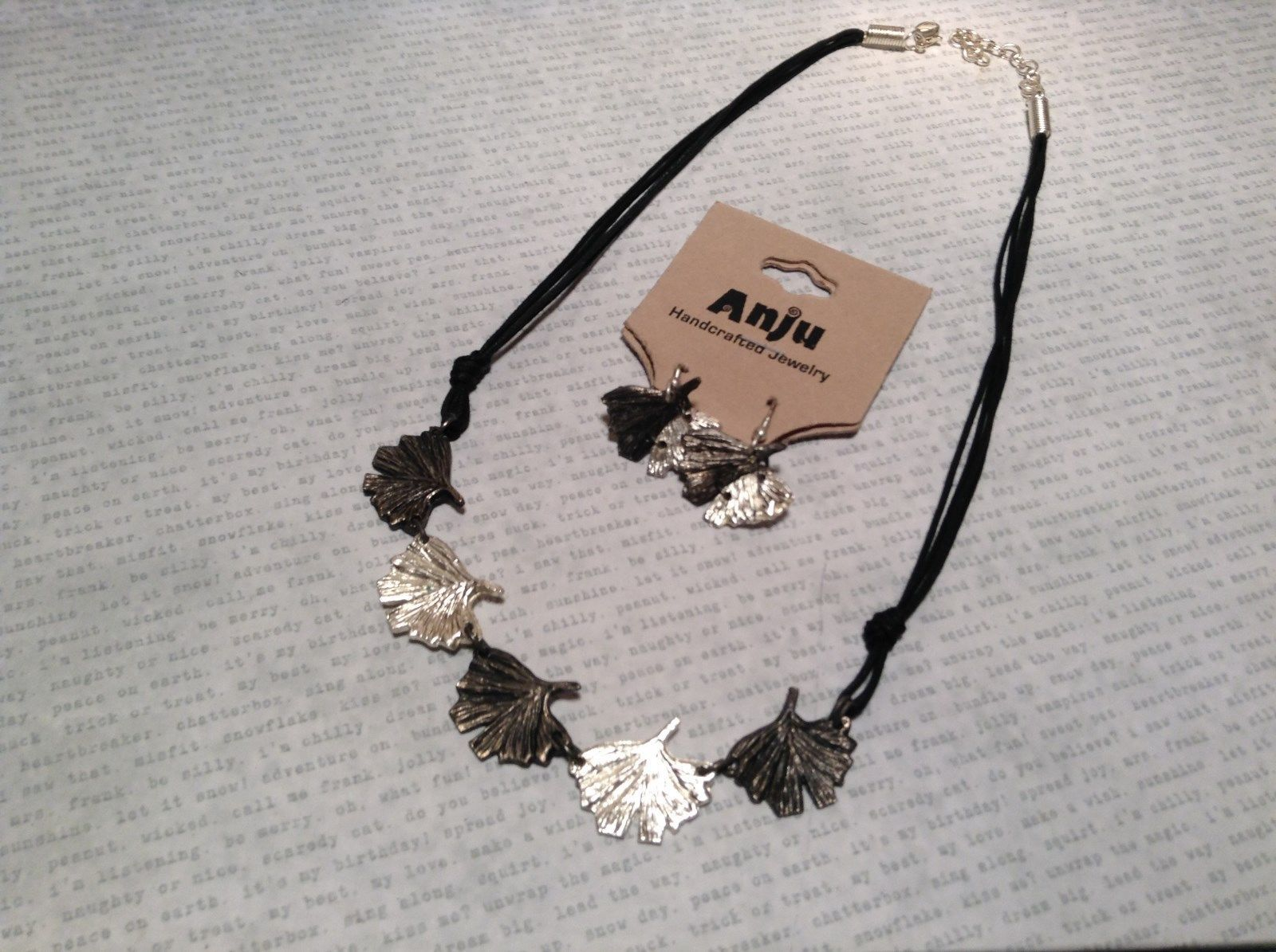 Pewter Necklace Earring Silver w Oxidized Ginkgo Leaf Vintage Look Handcrafted