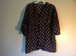Perry Ellis Size Medium Silk Short Sleeve Shirt Dark Blue with Brown Diamonds image 1