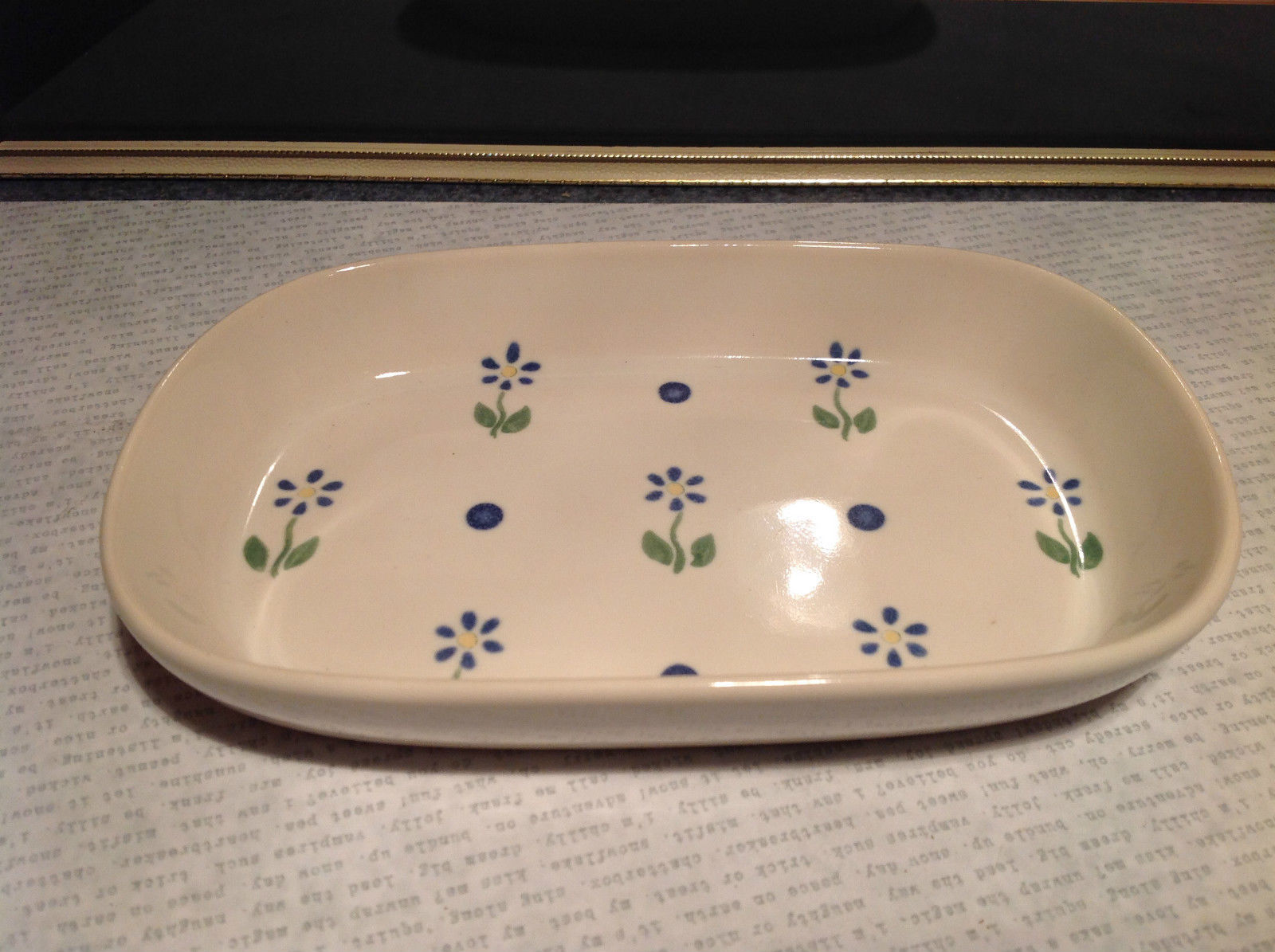 Pfaltzgraff Ceramic Serving Bowl with Flowers Made in USA Very Nice