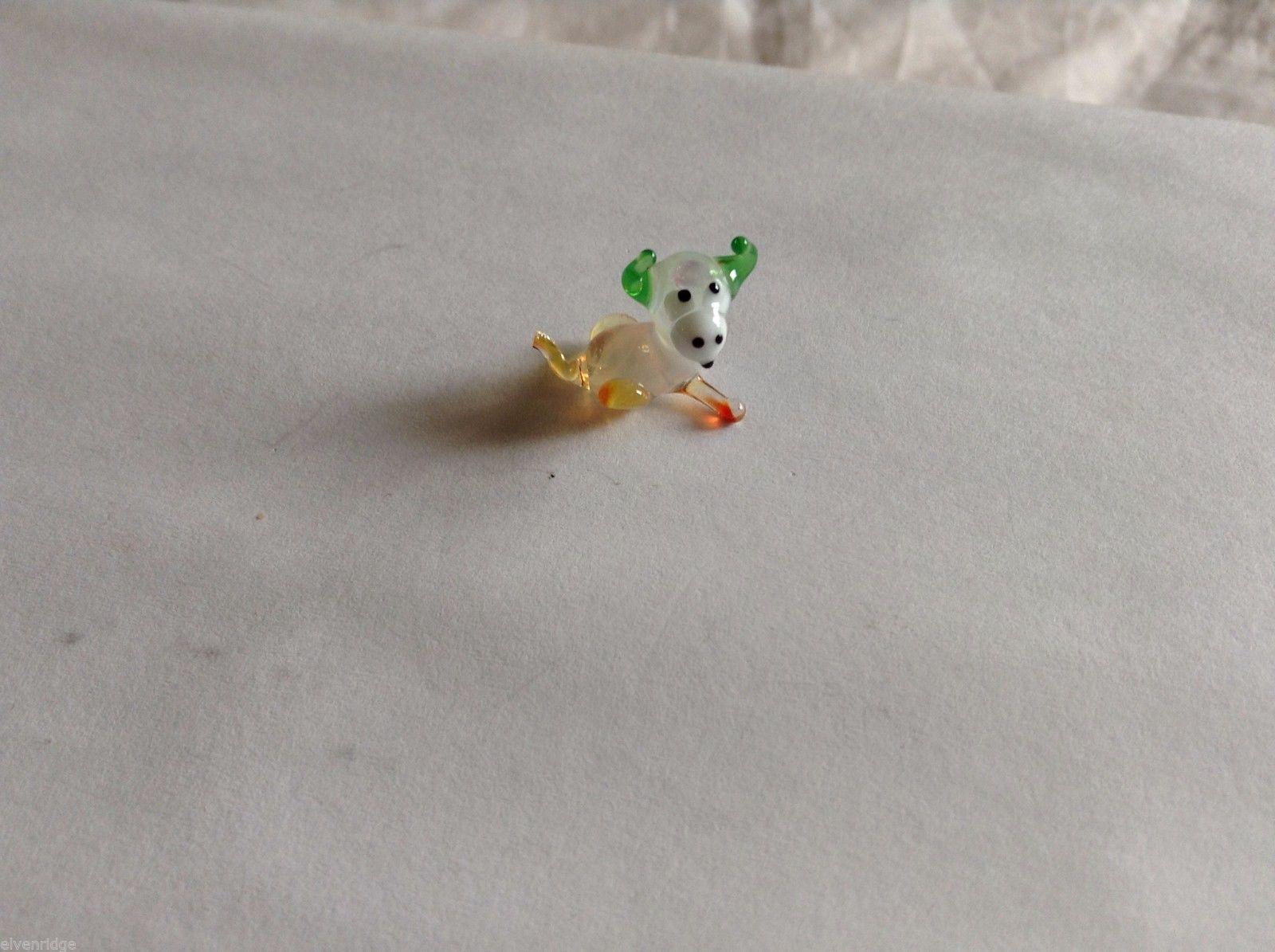 Micro Miniature small hand blown glass made USA NIB Bull w rough tail