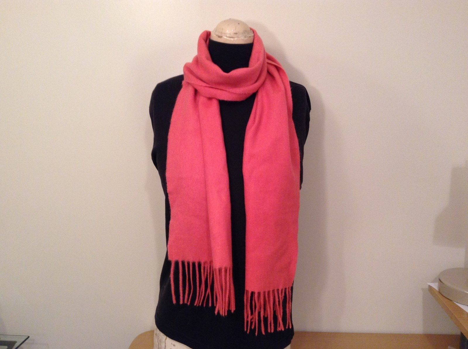 Pink Cashmere Feel Scarf with Fringes 68 Inches Long No Tags