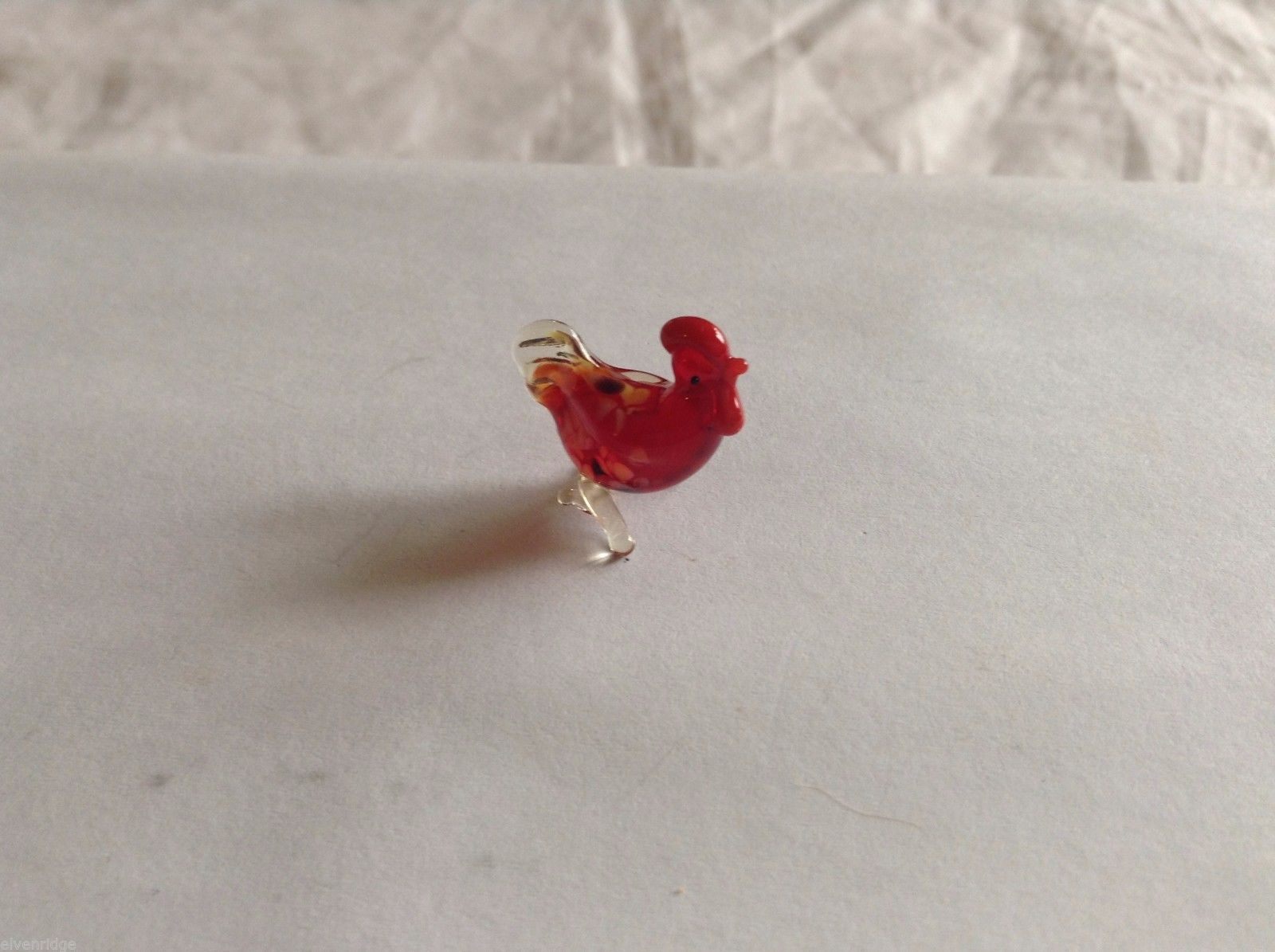 Micro Miniature small hand blown glass made USA NIB cute red rooster