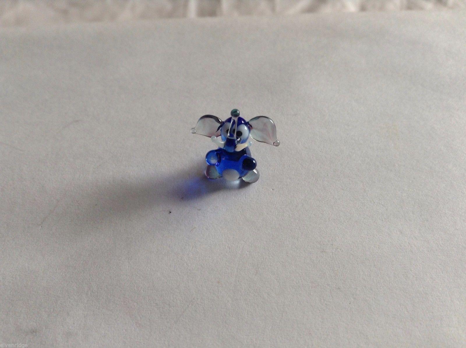 Micro Miniature small hand blown glass made USA NIB dark blue and clear elephant