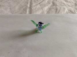 Micro Miniature small hand blown glass made USA NIB green & blue owl image 1