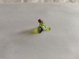 Micro Miniature small hand blown glass made USA NIB green & white parrot image 1