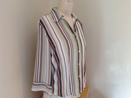 LeCaviar Green Tan Brown Striped Button Up Shirt V Neckline Collared Size M image 2