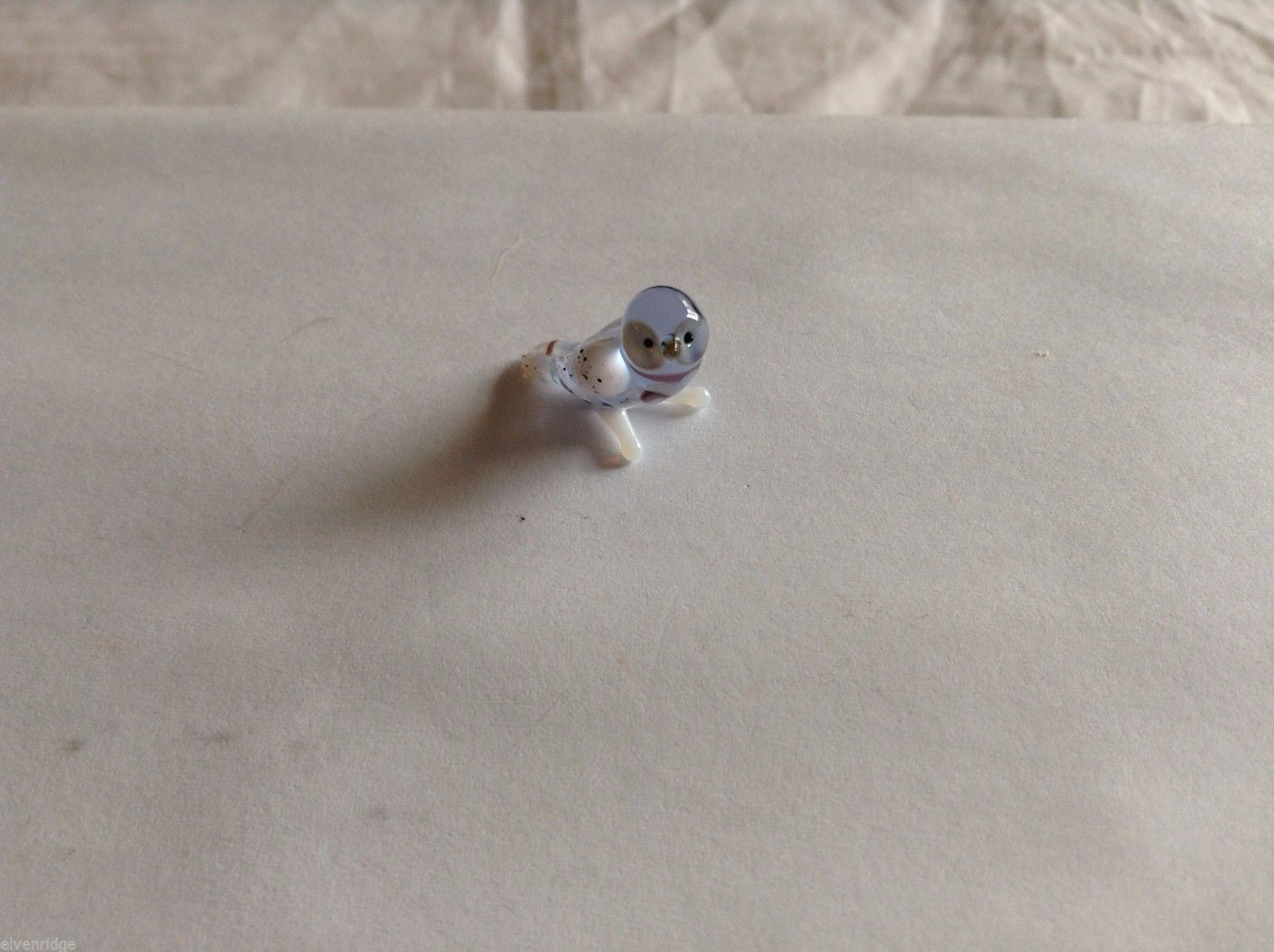Micro Miniature small hand blown glass made USA NIB light blue and white owl