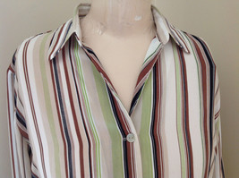 LeCaviar Green Tan Brown Striped Button Up Shirt V Neckline Collared Size M image 3