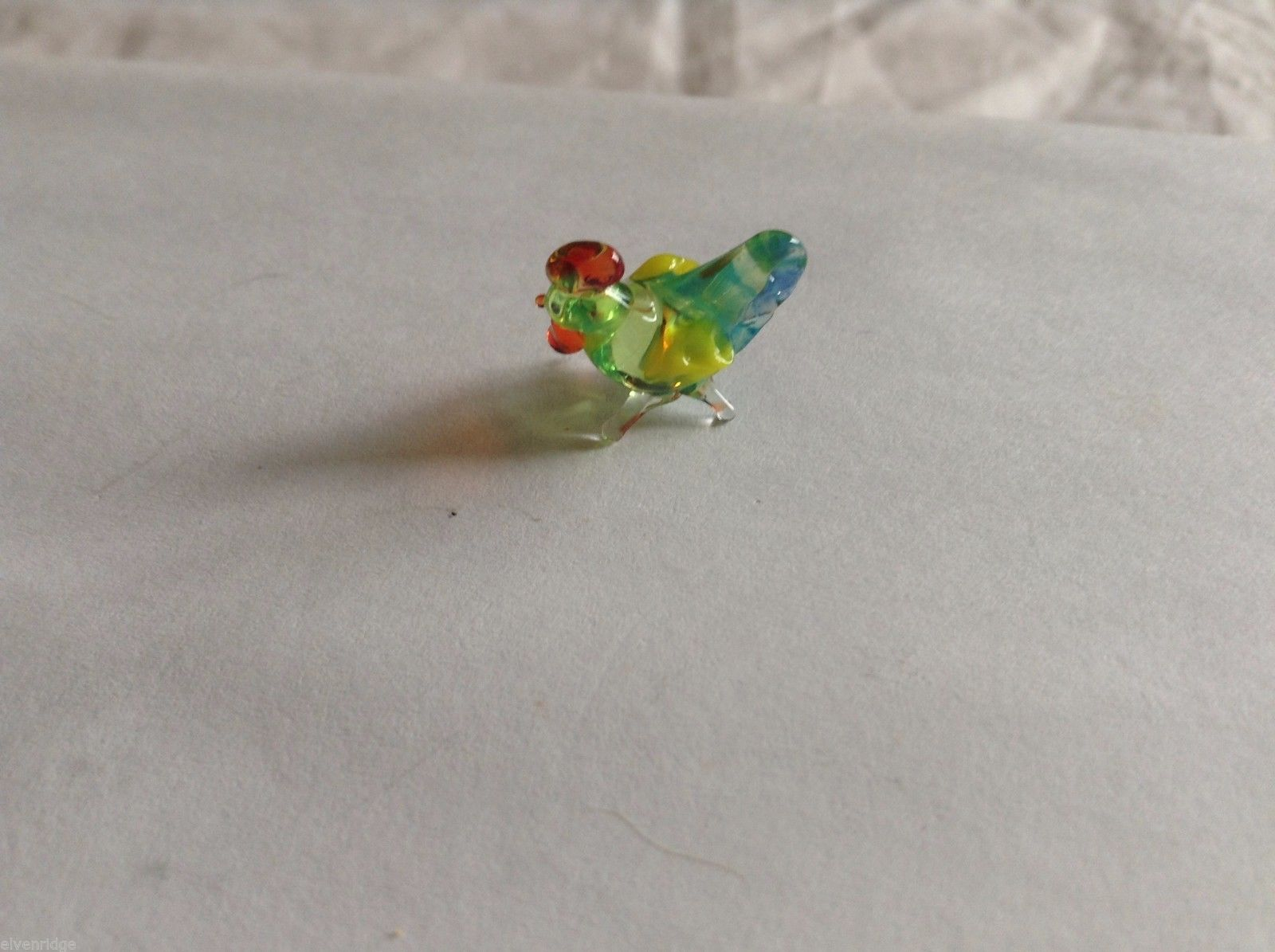 Micro Miniature small hand blown glass made USA NIB multicolored hen chicken