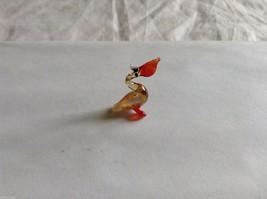 Micro Miniature small hand blown glass made USA NIB pelican w orange beak