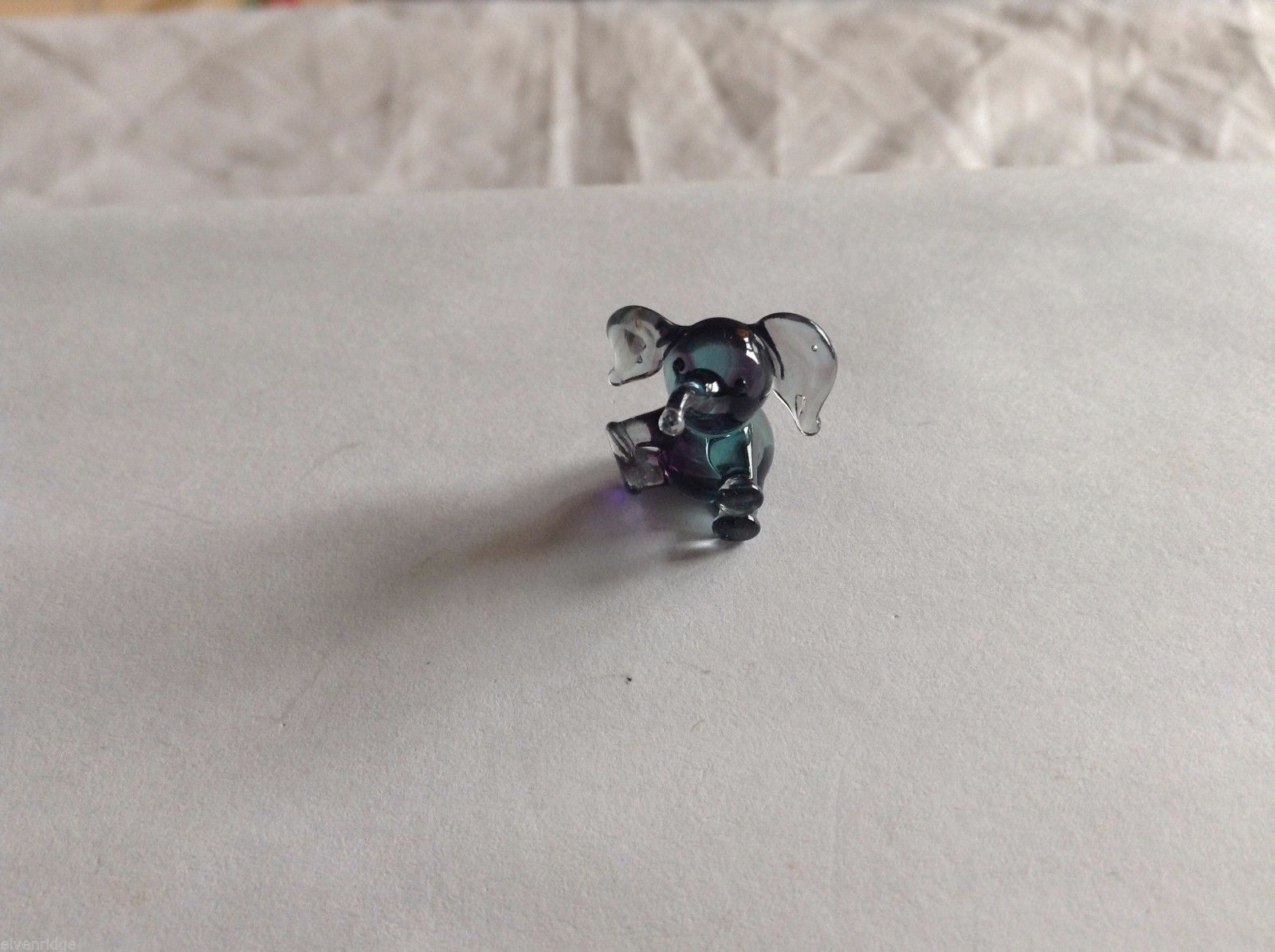 Micro Miniature small hand blown glass made USA NIB mini purple blue elephant