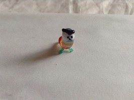 Micro Miniature small hand blown glass made USA NIB multi colored owl