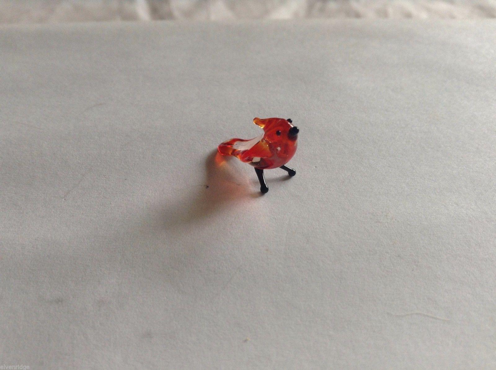 Micro Miniature small hand blown glass made USA NIB red cardinal