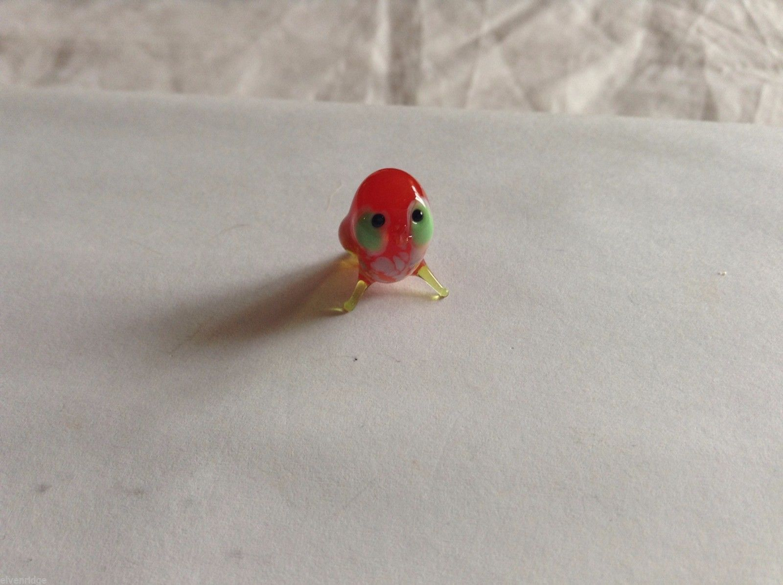 Micro Miniature small hand blown glass made USA NIB red owl w green eyes