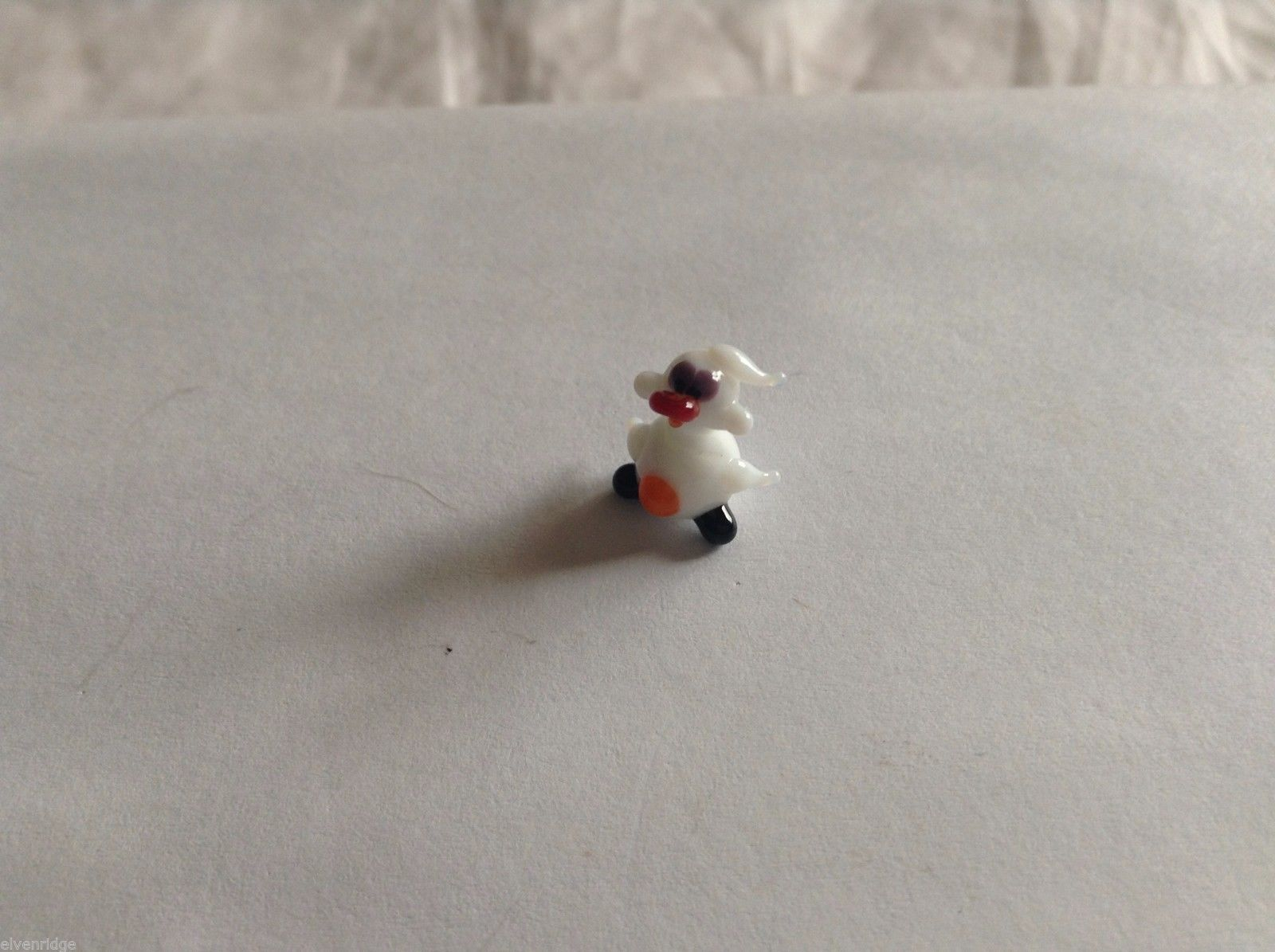 Micro Miniature small hand blown glass made USA NIB white duck w black feet