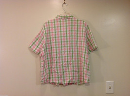 Alfred Dunner Woman Summer 100% Cotton Short Sleeve Plaid Shirt, Size 18W image 2