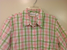 Alfred Dunner Woman Summer 100% Cotton Short Sleeve Plaid Shirt, Size 18W image 3