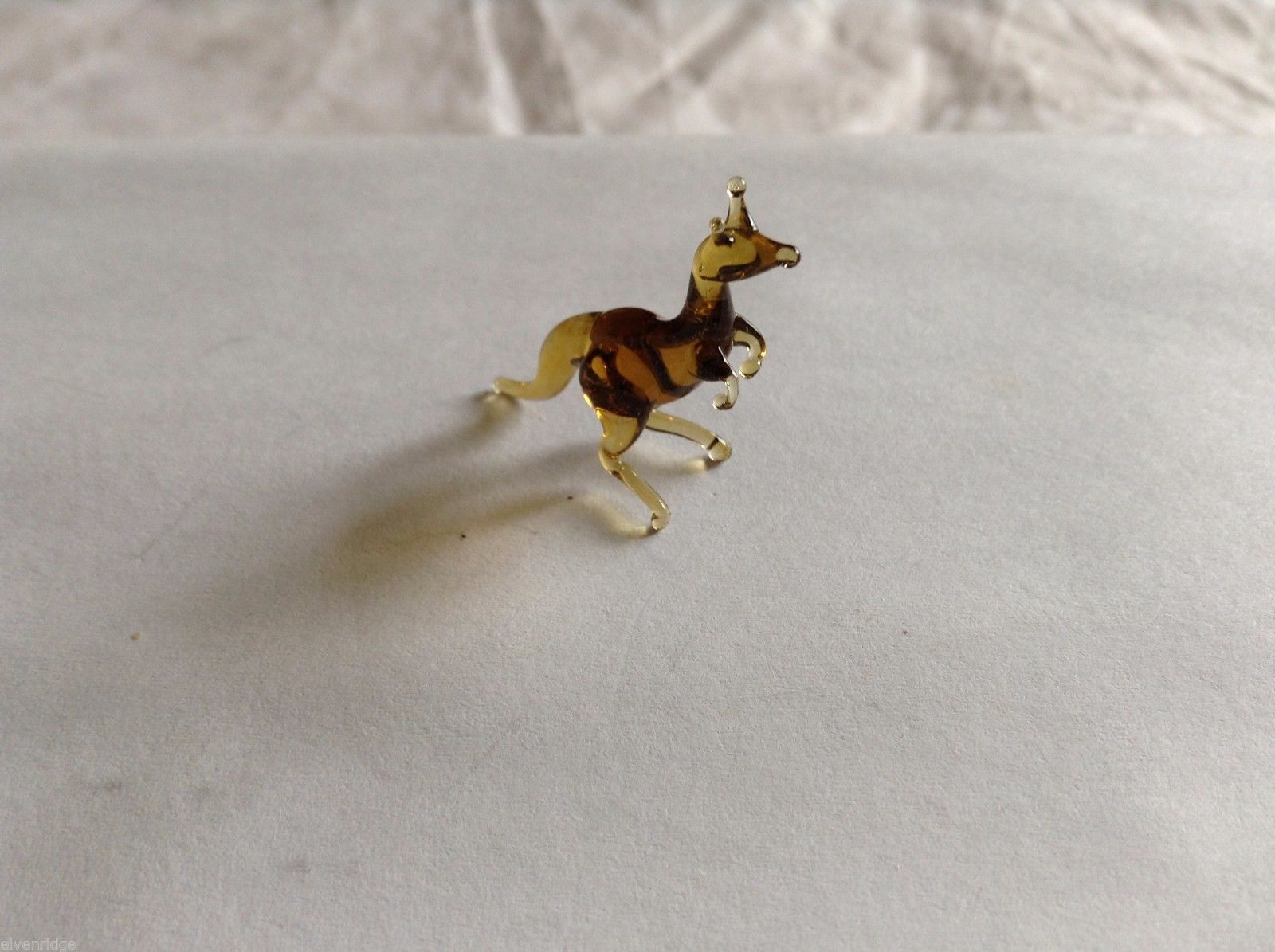 Micro Miniature small hand blown glass made USA dark yellow & brown kangaroo