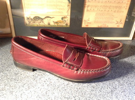 Leather Hand Sewn Penny Loafers Made in USA Size 7.5 See Pictures image 3