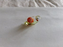 Micro Miniature small hand blown glass made USA green and orange snail