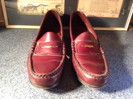 Leather Hand Sewn Penny Loafers Made in USA Size 7.5 See Pictures image 2