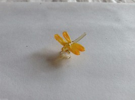 Micro Miniature small hand blown glass made USA yellow orange winged dragonfly